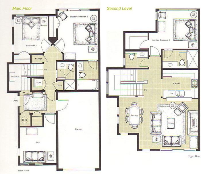 Floor plans for whistler montebello ii home rentals for Upstairs floor plans