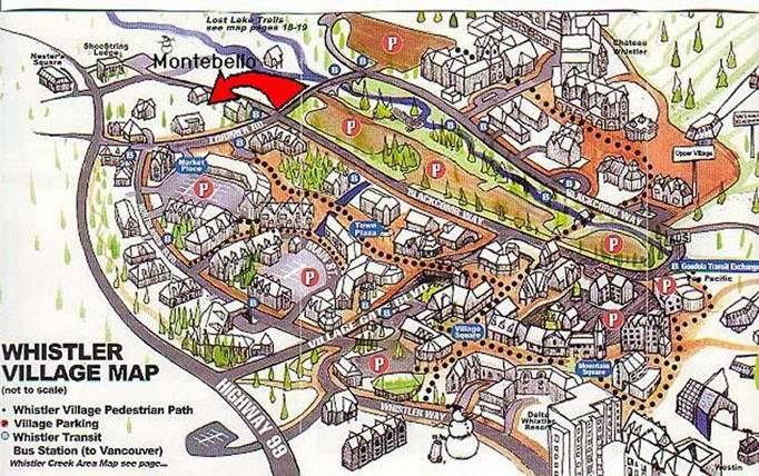 Whistler village map showing parking lots and montebelloii location